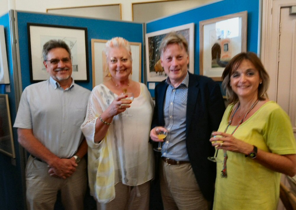 VIP guests Sharon Hurst (centre left) and Gordon Thoday of